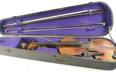 Violin with Stradivarius? label, with bows and case in need ...