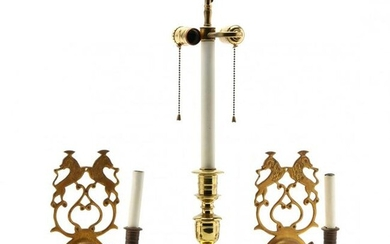 Virginia Metalcrafters, Pair of Brass Sconces and Lamp
