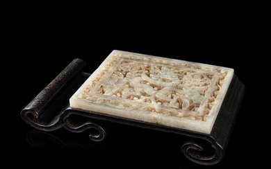 WHITE JADE BELT PLAQUE INSET WOODEN INK REST QING DYNASTY, 19TH CENTURY