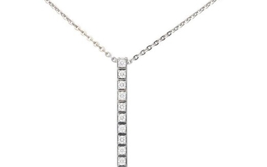 White gold 14 ct necklace with a Cartier Lanieres Diamond 18 ct white gold pendant, with approx. 0.51 ct diamond - 18 ct.