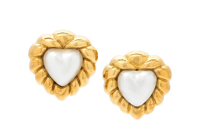 YELLOW GOLD AND CULTURED MABE PEARL HEART EARCLIPS