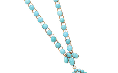 a rose gold and turquoise necklace