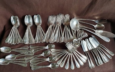 christofle - Large Christofle Cutlery Model Silver Bell Ribbons (92) - Silver plated
