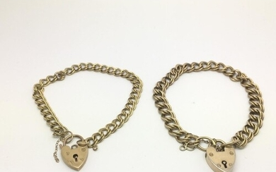 one 9ct gold bracelet with padlock clasp, plus a silver exam...