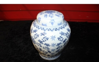1 x oriental Blue and white floral large ginger jar with lid...
