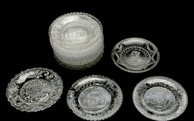 14 American Lacy Glass and EAPG Patriotic Cup Plates