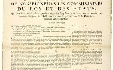 """1737. LANGUEDOC. """"Order of Our Lords the Commissioners of the King and of the States, which grants a last time, during which the Requests for discharge or moderation of the sums included in the Roles stopped for the Recovery of the Tenth, could be..."""