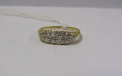 18ct YELLOW GOLD DIAMOND DOUBLE ROW CLUSTER, 10 well matched...