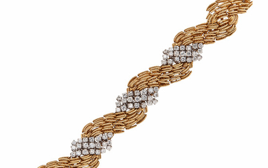 18kt Gold, Platinum, and Diamond Bracelet