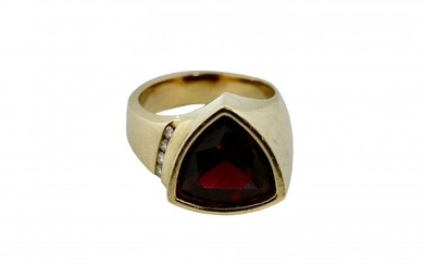 18kt Yellow Gold, Diamond and Garnet Ring