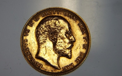 1904 Edward VIIth 22ct gold Full Sovereign. Perth mint lette...