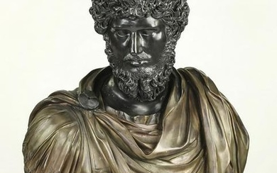 """19th c. bronze bust of a classical figure, 33""""h"""