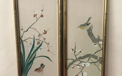 2 Panel Paintings of Birds on Chinese Silk