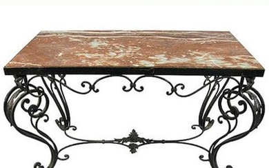 20TH C. FRENCH IRON & ROUGE MARBLE COCKTAIL TABLE
