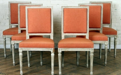 SET 6 SQAURE BACK LOUIS XV STYLE DINING CHAIRS