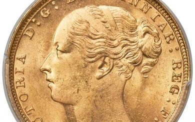 """30062: Victoria gold """"St. George"""" Sovereign 1886-M MS65"""