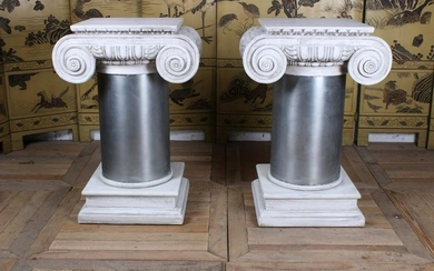 Pair of Classical Column Form Side Tables