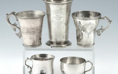 """5 Early Silver Cups, unmarked. Tallest: 3 3/4"""""""