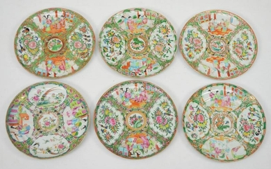 6 Antique Famille Rose / Rose Medallion Chinese Plates