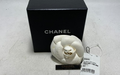 CHANEL WHITE LEATHER CAMELLIA BROOCH
