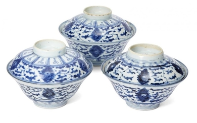 Three Chinese porcelain rice bowls and covers,...