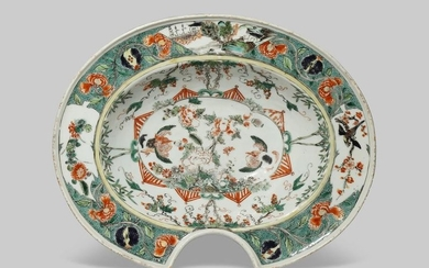 A CHINESE FAMILLE VERTE BARBER'S BOWL KANGXI 1662-1722...