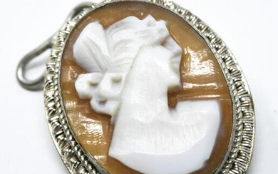 800 Silver Carved Cameo Necklace Pendant or Pin