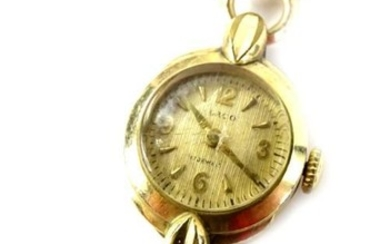 A 9ct gold Laco ladies wristwatch, with small circular...