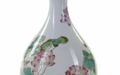 A CHINESE PEAR-SHAPED FAMILLE ROSE VASE