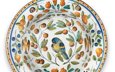 A Castelli maiolica barber's bowl, second half 17th century