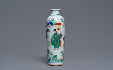 A Chinese wucai rouleau vase with figures in...