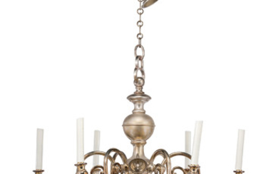 A DUTCH-STYLE SILVERED SIX-LIGHT ELECTROLIER, SECOND HALF 20TH CENTURY