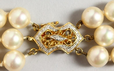 A GOOD TRIPLE-ROW PEARL NECKLACE, with 14CT GOLD CLASP.