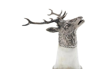 A German silver stag stirrup cup by J. D. Schleissner & Söhne