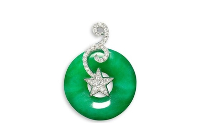 A Jadeite Hoop and Diamond Pendant