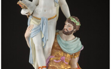 A KPM Polychrome Porcelain History and Mars Figural Group (late 19th century)