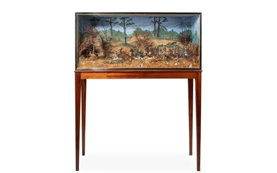 A LARGE AND IMPRESSIVE LATE 19TH CENTURY PAINTED CARD AND FOLIAGE DIORAMA DEPICTING A HUNTING SCENE