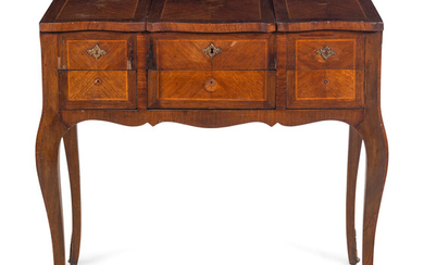 A Louis XV Style Inlaid Walnut Poudreuse