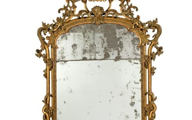 A NORTH ITALIAN GREEN-PAINTED AND PARCEL-GILT MIRROR, MID-18TH CENTURY, POSSIBLY BY GIAN PIETRO BARONI DI TAVIGLIANO