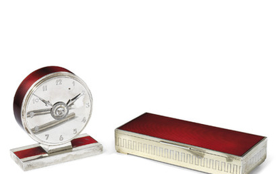 A NORWEGIAN SILVER AND ENAMELLED DESK SET, MARK OF DAVID ANDERSEN, CIRCA 1935