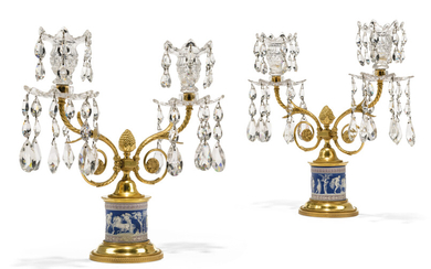 A PAIR OF GEORGE III ORMOLU, CUT-GLASS AND WEDGWOOD TRI-COLOUR JASPERWARE TWO-LIGHT CANDELABRA