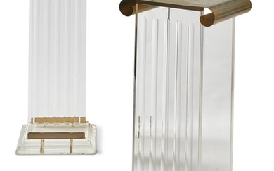 A PAIR OF PERSPEX AND GILT METAL COLUMNAR STANDS, SECOND HALF 20TH CENTURY