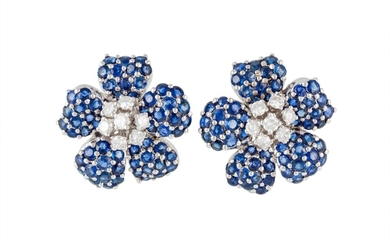 A PAIR OF TIFFANY & CO SAPPHIRE AND DIAMOND FLORAL EARRINGS,...