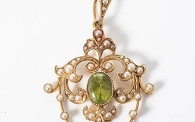 A PEARL AND TSAVORITE PENDANT
