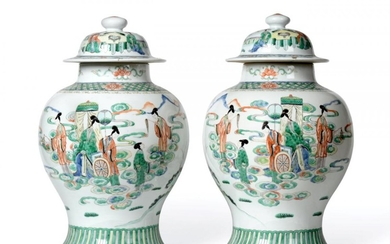 A Pair of Chinese Porcelain Jars and Covers, Kangxi reign...