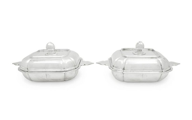 A Pair of Continental Silver Covered Dishes Retailed by