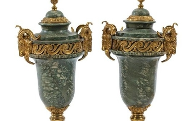 A Pair of Louis XVI Style Gilt Metal Mounted Marble