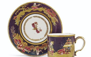 A SEVRES (HARD PASTE) PORCELAIN AUBERGINE-GROUND SMALL CUP AND SAUCER (GOBELET 'LITRON' ET SOUCOUPE, 4EME GRANDEUR), CIRCA 1785, IRON-RED CROWNED INTERLACED L'S MARKS, PROBABLY PAINTED BY DIEU, THE CUP INCISED CP
