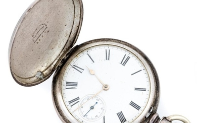 A STERLING SILVER FULL HUNTER POCKET WATCH; white dial with Roman numerals, subsidiary seconds, full plate movement signed A.M. Wat...