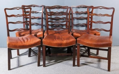 A Set of Six Fruitwood/Elm Ladder Back Dining Chairs...